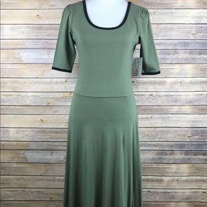 Lularoe Ana Solid Olive Green Black Trim Dress